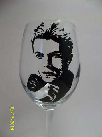 David Bowie, Wine Glass, Hand painted glass
