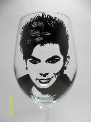 Adam Lambert, Wine Glass, Hand painted glassware