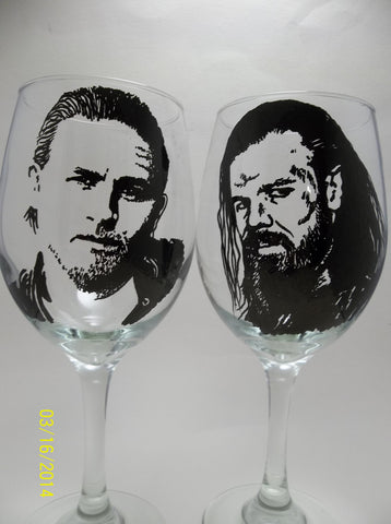Sons of Anarchy, Hand Painted Wine Glasses, Jax and Opie