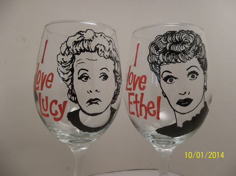 Lucille Ball, Vivian Vance, Lucy and Ethel, Hand painted wine glasses