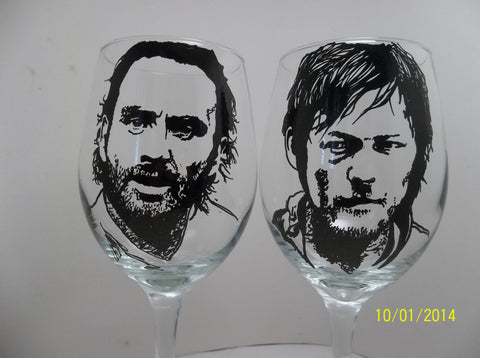 Walking Dead, Rick Grimes, Daryl Dixon, Hand painted wine glasses