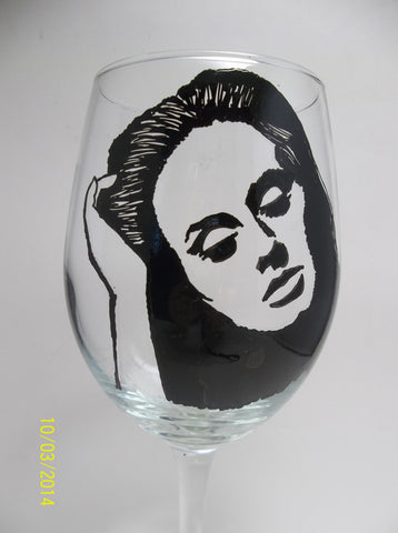 Adele, Hand painted wine glass, Hand painted glassware