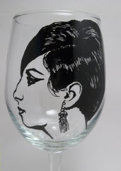 Barbra Streisand, Hand painted wine glass, Hand painted glassware