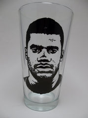 Russell Wilson, Seattle Seahawks, Painted Pint Glass