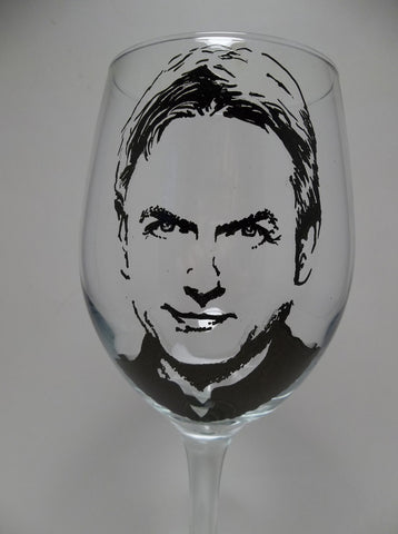 Mark Harmon, Agent Gibbs, NCIS, Painted wine glass, Hand painted glass