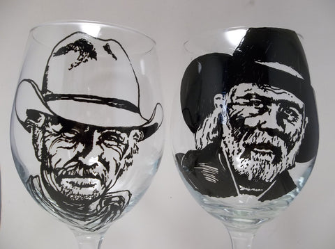 Lonesome Dove, Robert Duvall, Tommy Lee Jones, Hand painted glasses