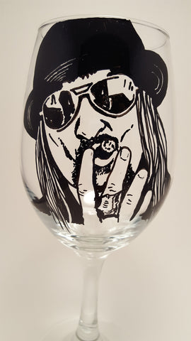 Kid Rock, Painted wine glass, Hand painted glasses