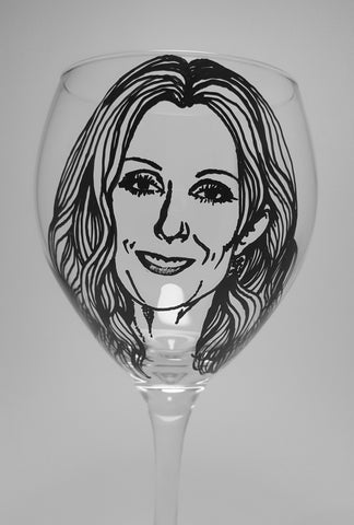 Celine Dion, Hand painted wine glass, Hand painted glassware