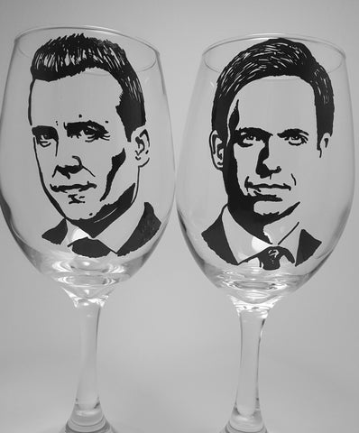 Suits Wine Glasses, Harvey Specter, Mike Ross, Hand Painted Wine Glasses