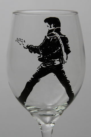 Elvis, Hand painted wine glass, painted glassware