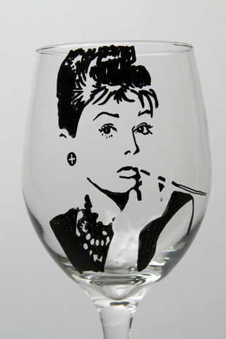 Audrey Hepburn, wine glass, Hand painted glassware