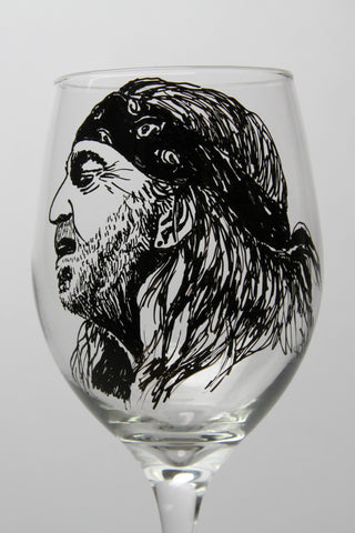 Willie Nelson, Wine Glass, Hand painted glassware