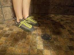 climbing shoes in shower