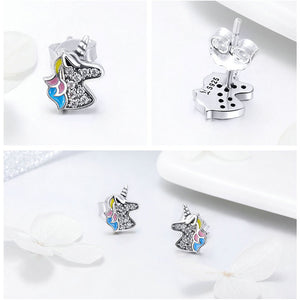 Sterling Silver Dazzling Unicorn Stud Earrings