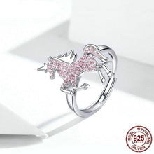 Load image into Gallery viewer, Sterling Silver Pink Unicorn Adjustable Ring