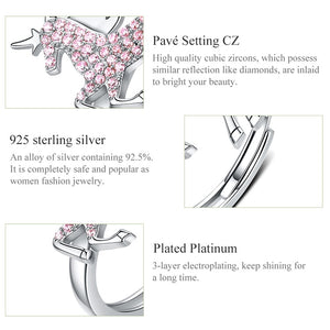 Sterling Silver Pink Unicorn Adjustable Ring