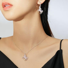 Load image into Gallery viewer, Sterling Silver Unicorn Necklace and Earring Set