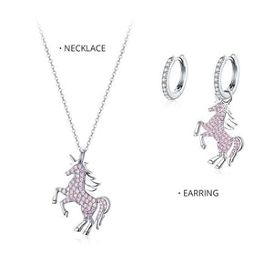 Sterling Silver Unicorn Necklace and Earring Set