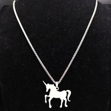 Load image into Gallery viewer, Silver Stainless Steel Solid Unicorn Necklace