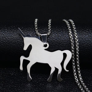 Silver Stainless Steel Solid Unicorn Necklace