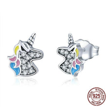Load image into Gallery viewer, Sterling Silver Dazzling Unicorn Stud Earrings