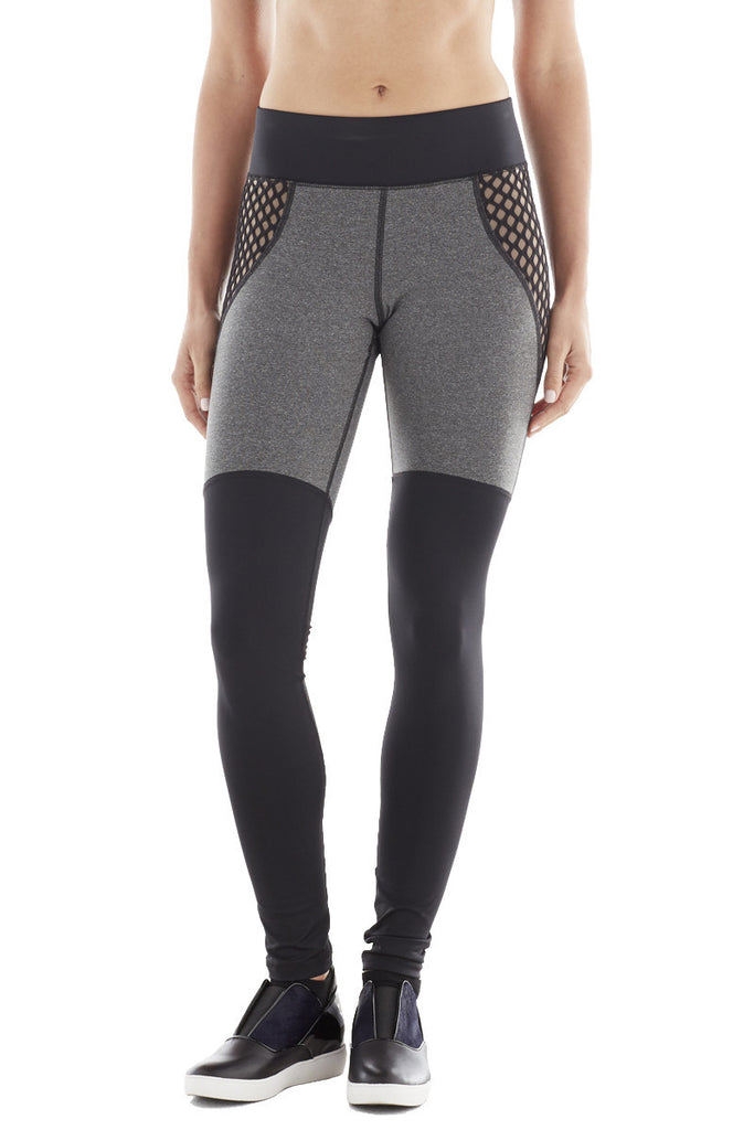 MICHI NY ACTIVEWEAR SHADOW LEGGING - HEATHER GREY / BLACK / NUDE