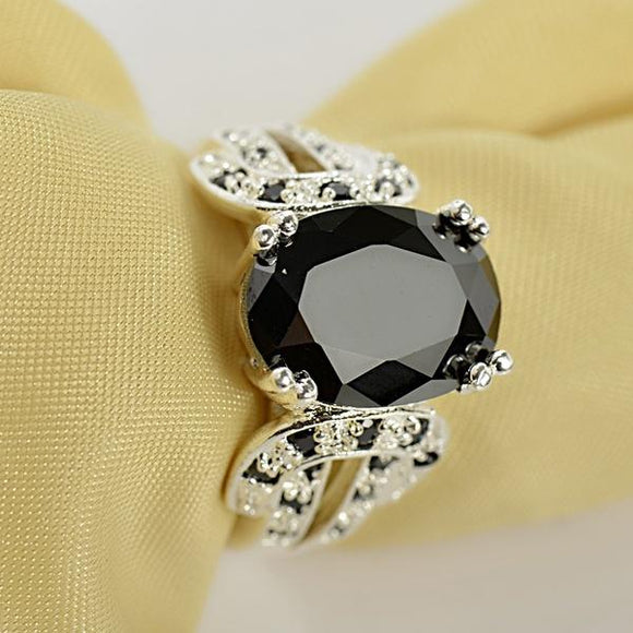 Fashion Women 925 Sterling Silver Black Sapphire & White Topaz Gemstones Rings
