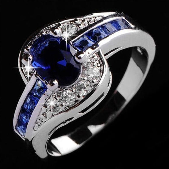 Blue Sapphire Women Sterling Silver Men Engagement Rings Jewelry
