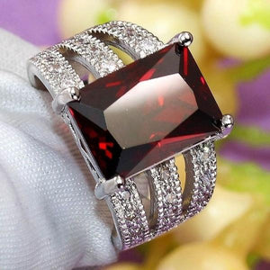 Vintage Women's Jewelry Sterling Silver Ring Exquisite Amethyst / Ruby Antique Anniversary Gift