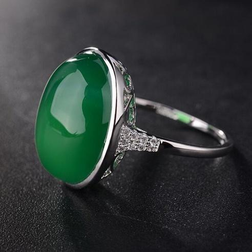 Lady's  Sterling Silver Emerald/Natural Gemstones Wedding Rings