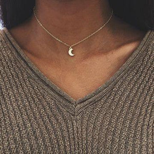New Simple and Cute Moon Pendant Necklace Elegant Woman Party Wedding Jewelry