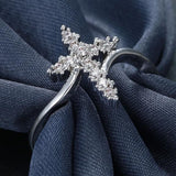 Natural White Sapphire 925 Sterling Silver Cross Ring
