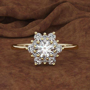 Snowflake Diamond Rings for Bride Wedding Engagement Silver Christmas Gifts Women Jewelry