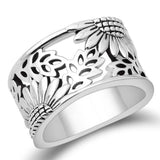 Silver Filigree Sunflower Ring for Women