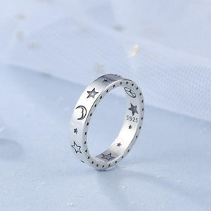 Women Cute Moon Star Sterling Silver Hoop Rings