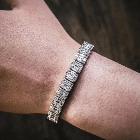 8mm Iced Baguette Bracelet In White Gold