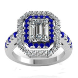 Fashionable and Luxurious Blue Zircon Lady Ring Silver Plated Ring