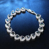 Glamour Bride Heart-shaped Bracelet Cubic Zirconia Party Wedding Jewelry