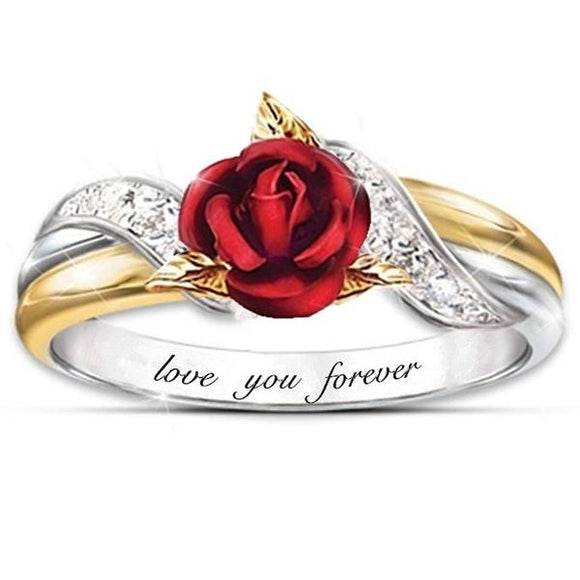 Fashion Creative Sterling Silver Rose Ring Engagement Ring Anniversary Gift