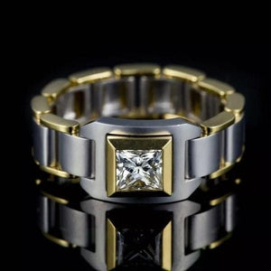 Men's Fashion Gold Luxury Natural White Sapphire Ring Wedding Engagement Party Jewelry