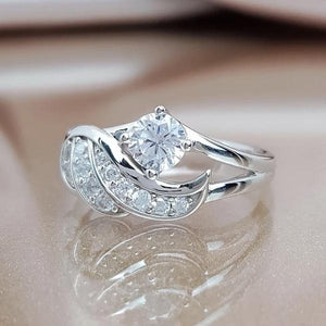 Angel Wings Zircon Ring Silver Color Women Wedding Rings Valentine's Day Gifts
