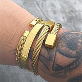 Men's Bracelet Luxury 3-Piece Hip Hop Jewelry Roman Numeral Bracelet