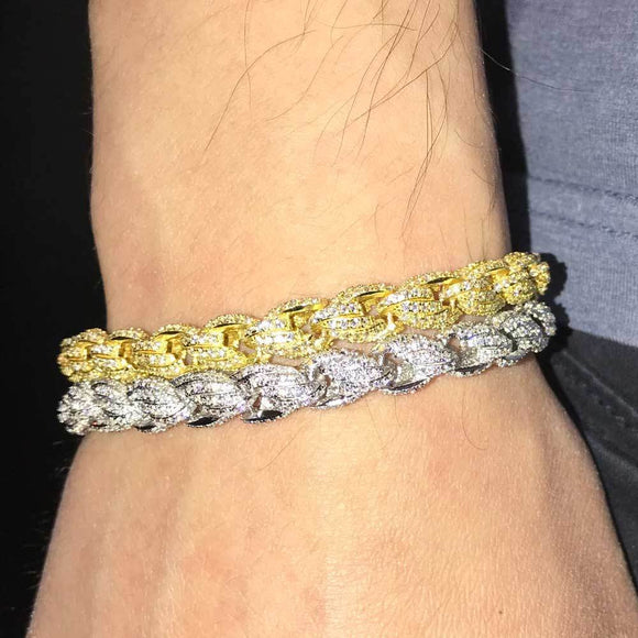 French Rope Iced Hip Hop Bracelet
