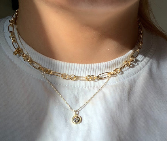 Sterling Silver 18k Gold Plated Chunky Geo Necklace