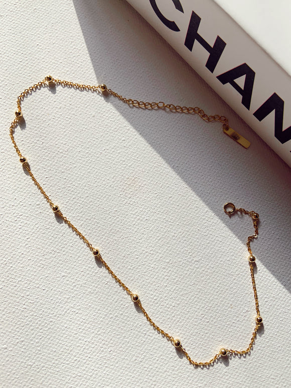 18K Gold Plated - Simple Bead Choker