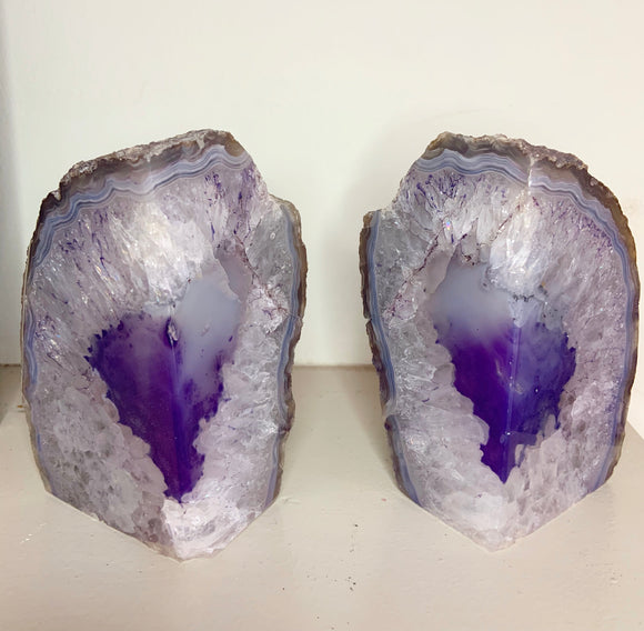 Amethyst Crystal Bookends