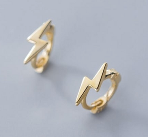 14K Gold Plated - Lightning Bolt Mini Ear Huggies