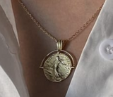14K Gold Plated - Cassius Coin Necklace
