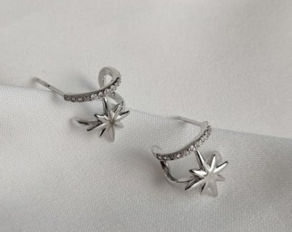 Sterling Silver - Crystal Hoop Star Earrings