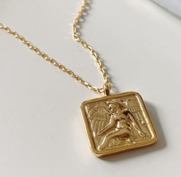 14K Gold Plated - Angel Square Medal Necklace
